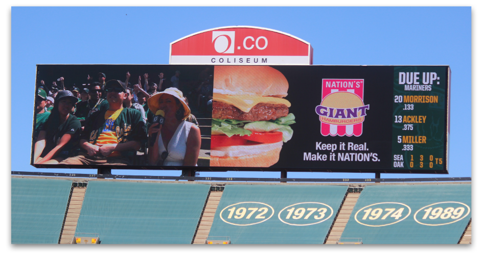 Nation's Hamburgers Athletics Baseball Jumbotron