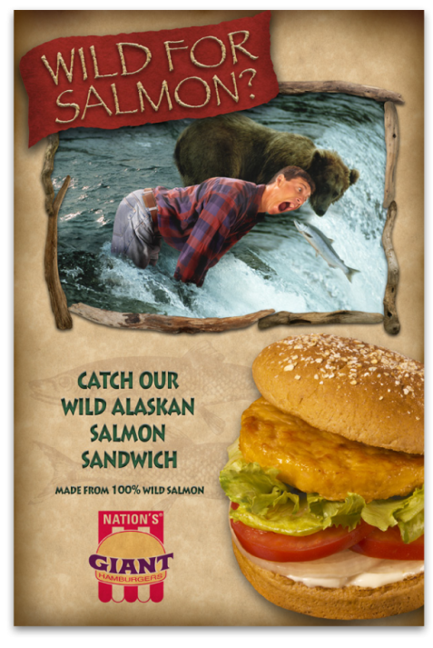 Nation's Giant Hamburgers Salmon Burger